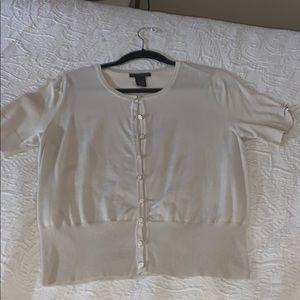 Cream short sleeve button-up Cardigan sweater Sz L